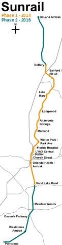 A geographically-accurate map of the SunRail corridor. From Wikipedia.