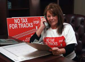No Tax For Tracks Pinellas spokesperson Barbara Haselden. Photo Credit: TBO.com/St. Petersburg Tribune.