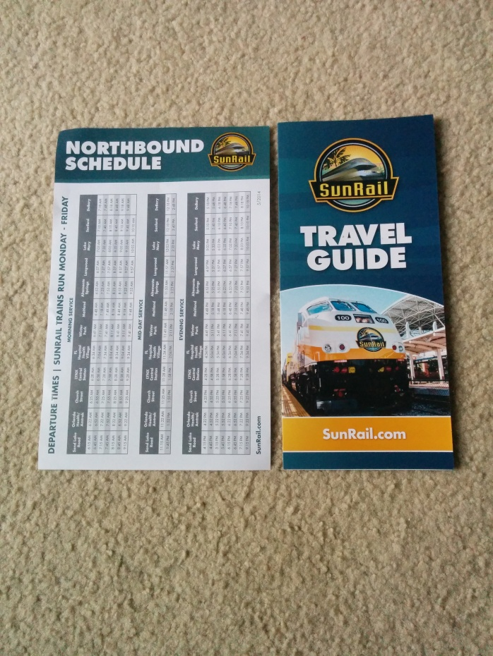 A SunRail schedule timetable and travel guide. Photo Credit: HARTride 2012.