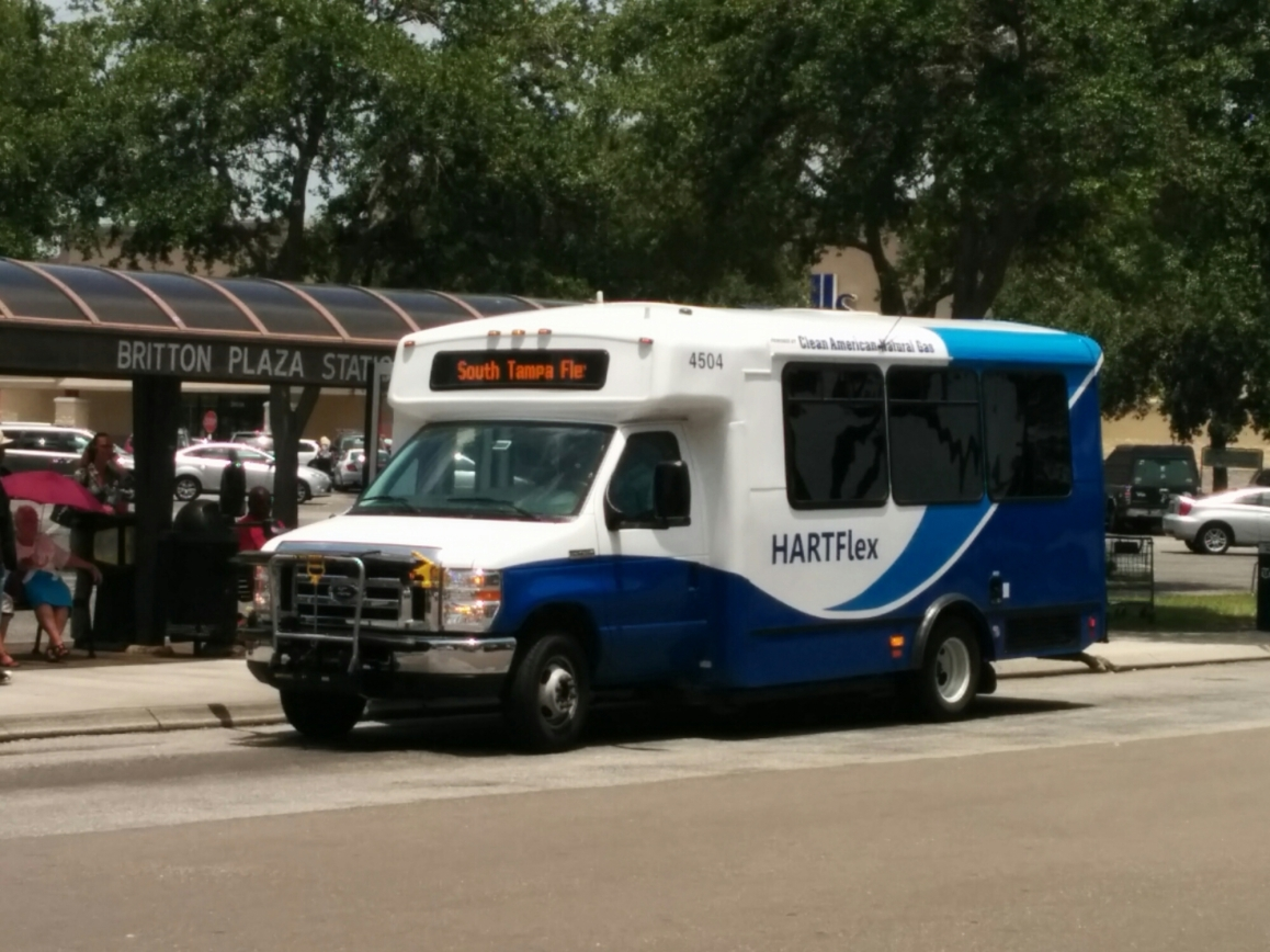 A CNG-powered cutaway van on the South Tampa Flex route. Photo Credit: HARTride 2012. June, 2014.
