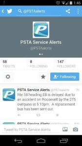 A smartphone snapshot of the new @PSTAalerts Twitter Feed by HARTride 2012.