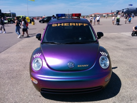 "Civilian organizational partnerships have become more vital than ever when it comes to hosting an air show within the United States. This is ""Benny"" the VW Beetle, used by the Hillsborough County Sheriff's Office for community outreach. Photo Credit: HARTride 2012."