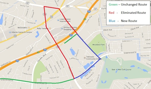 Changes being made to HRT Route 41. Credit: Hampton Roads Transit (HRT).
