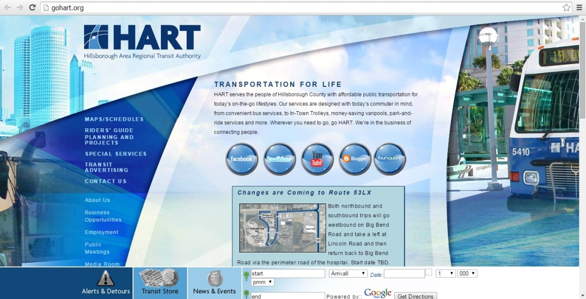 A snapshot of what the HART website looks like right now. I'm definitely ready to see that photo of the retired 5000 series bus go into the trash bin, lol. Snapshot taken by HARTride 2012.