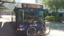 """The front of #1507 with a bike just screaming, """"can we please be best friends?"""" to the bus. Photo Credit: HARTride 2012. March, 2015."""