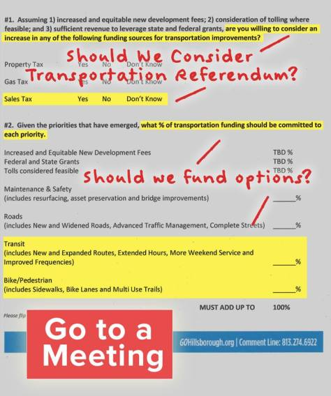 "This is the paper that citizens were asked to fill out at the ""Making Choices"" meetings. Credit: Connect Tampa Bay."
