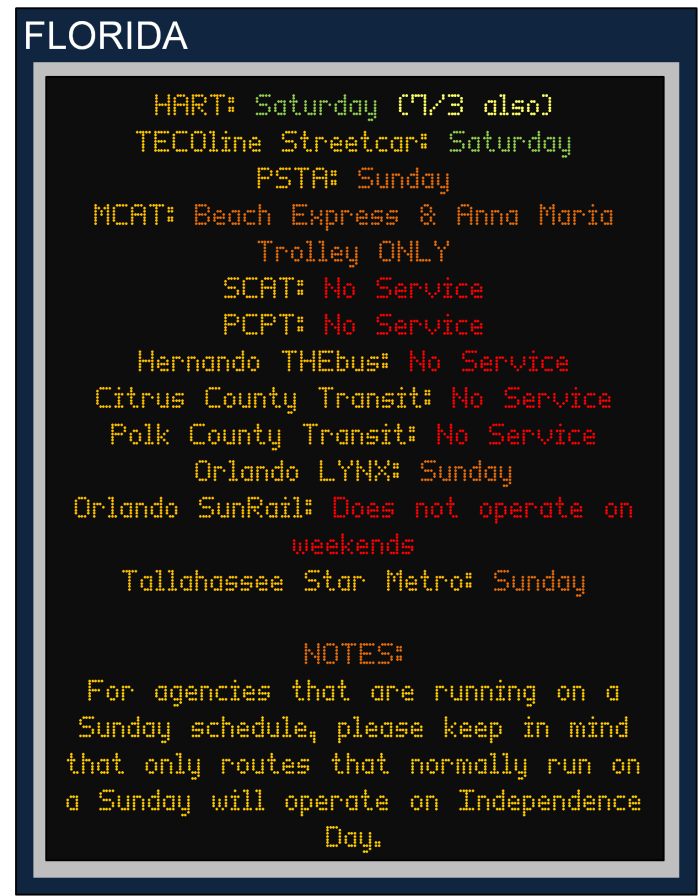 July 4 Holiday Transit Schedules Banner 2A