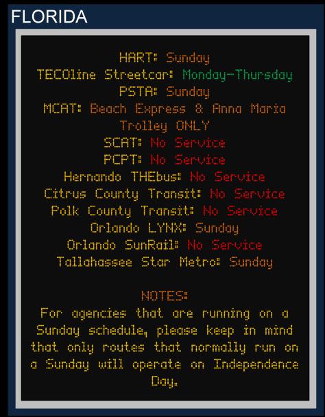 Labor Day 2015 Florida Service