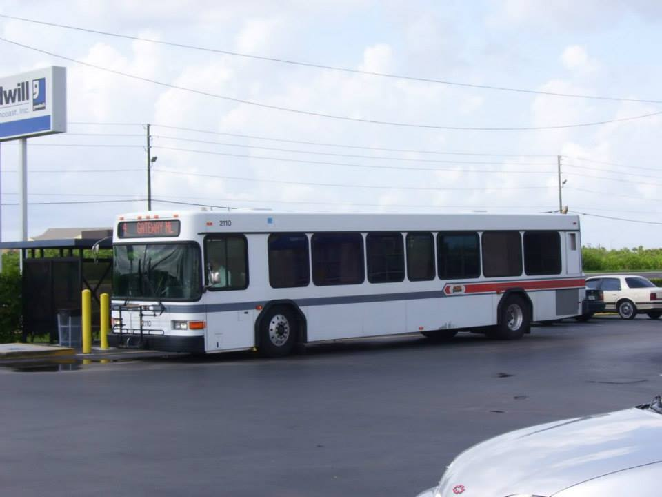 #2110 on Route 4 at the Goodwill facility on Gandy Blvd N. This was one of a handful of buses that still possessed the old PSTA livery. Photo Credit: HARTride 2012.