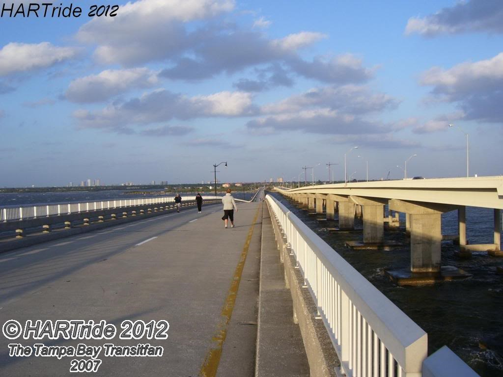 Looking east on the old Gandy Bridge when it was still open as a recreational trail. Photo Credit: HARTride 2012.