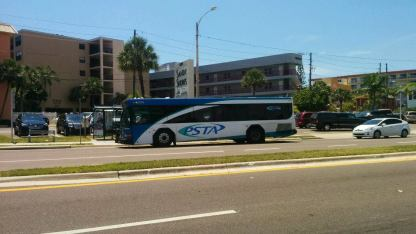 #2713 (35-footer) filling in for one of the Gillig Replica Trolleybuses on the Suncoast Beach Trolley (Route 777). Photo Credit: HARTride 2012.