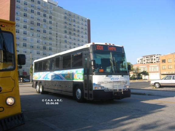 #2305 on Route 100X, approaching the Marion Transit Center. Photo Credit: Carlos A.