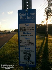 "You can find the ""Real Time"" panel at each PSTA bus stop."