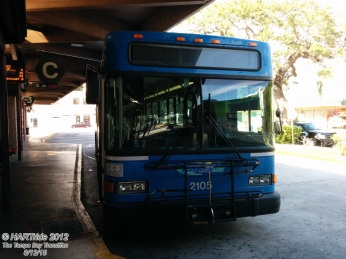 Later, # 2105 is spotted on a layover at the Clearwater Park St Terminal.