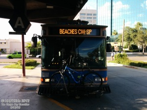 The Suncoast Beach Trolley prepares for departure.