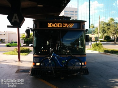 #722 on the Suncoast Beach Trolley (Route 777), preparing for departure.