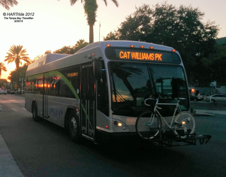 #2901 subbing in on the Central Ave Trolley (Route 35). This was PSTA's first hybrid bus.