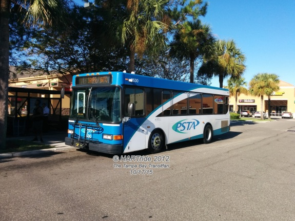 Side view of #2530. Even though the Flex Connectors usually run cutaway vans, 30-foot Gillig buses are periodically placed on the routes depending on how they get handed out each day. They often can make scheduled deviations without any major problems too.