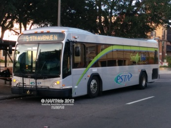 #2910 is virtually identical to the rest of the hybrid fleet, but of course, there is no hybrid tank and components. The rear faring is identical to HART's Gillig Low Floor BRT buses.
