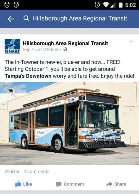 Screen cap of HART's Facebook post regarding the In-Towner.