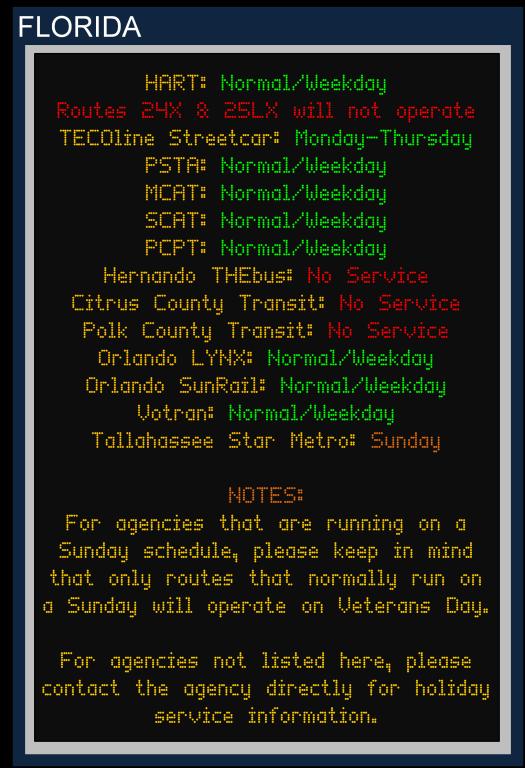 Veterans Day 2015 Florida Services