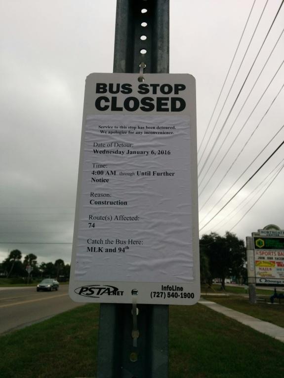 A close-up of the customer notice describing the detour.