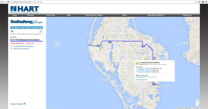 PSTA's Route 59 on the HART OneBusAway desktop website.