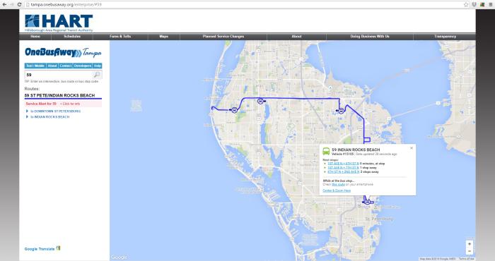 PSTA's Route 59 on the HART OneBusAway desktop website.