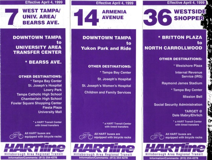 Route 36 brochure from 2001, alongside brochures for Routes 7 & 14. Credit: Orion 2003.