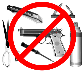 Be sure to NOT bring anything with you that wouldn't be allowed through an airport security checkpoint.