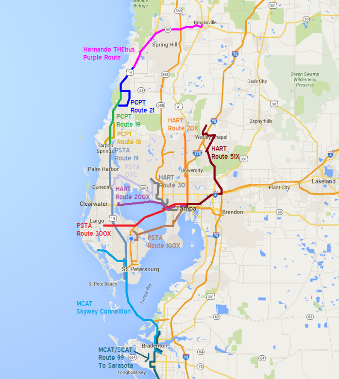 An illustration showing all intercounty bus routes, as well as key local connections. Please bear in mind that the lines shown on this map may not actually reflect the true routing of the bus lines. Created by HARTride 2012 using Google Maps and Microsoft Paint.