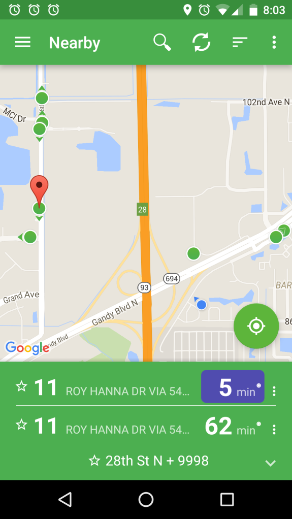 Mobile app snapshot of PSTA Route 11