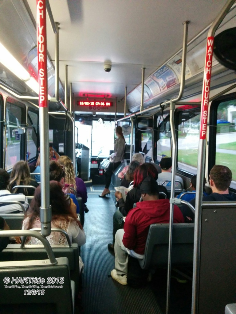 A crowded Route 59 bus during the AM rush. PSTA wants to decrease frequency along the MLK St N corridor from its current 20 to 30 minute headways to just hourly service. NOT GOOD PSTA.