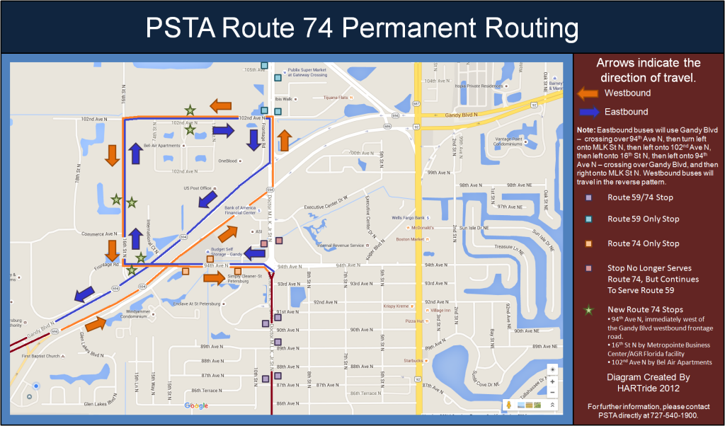 Diagram showing Route 74's new routing and bus stops, as well as existing bus stops. Please click on the image for a larger view.