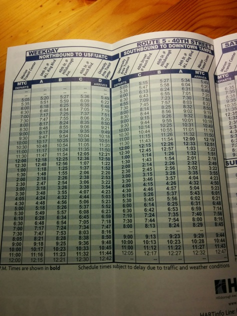 Looking at the Weekday section of the schedule timetable for HART Route 5.