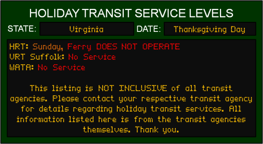 thanksgiving-va-transit-service-levels