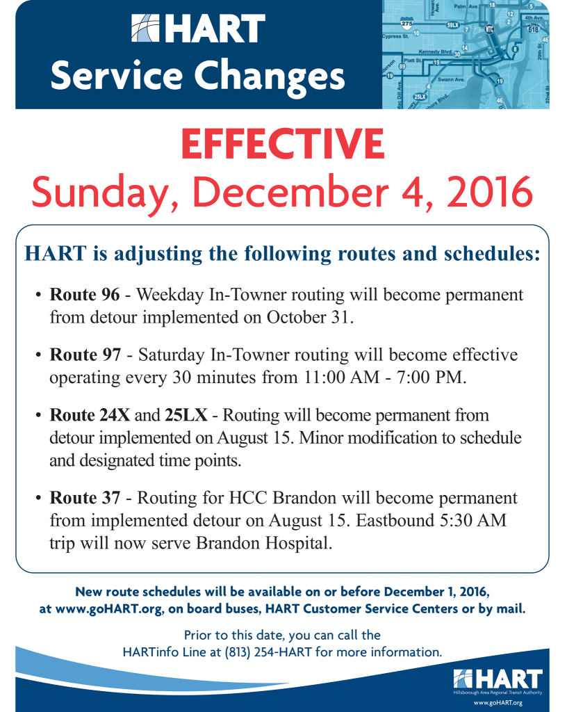 Service Change notice from HART.