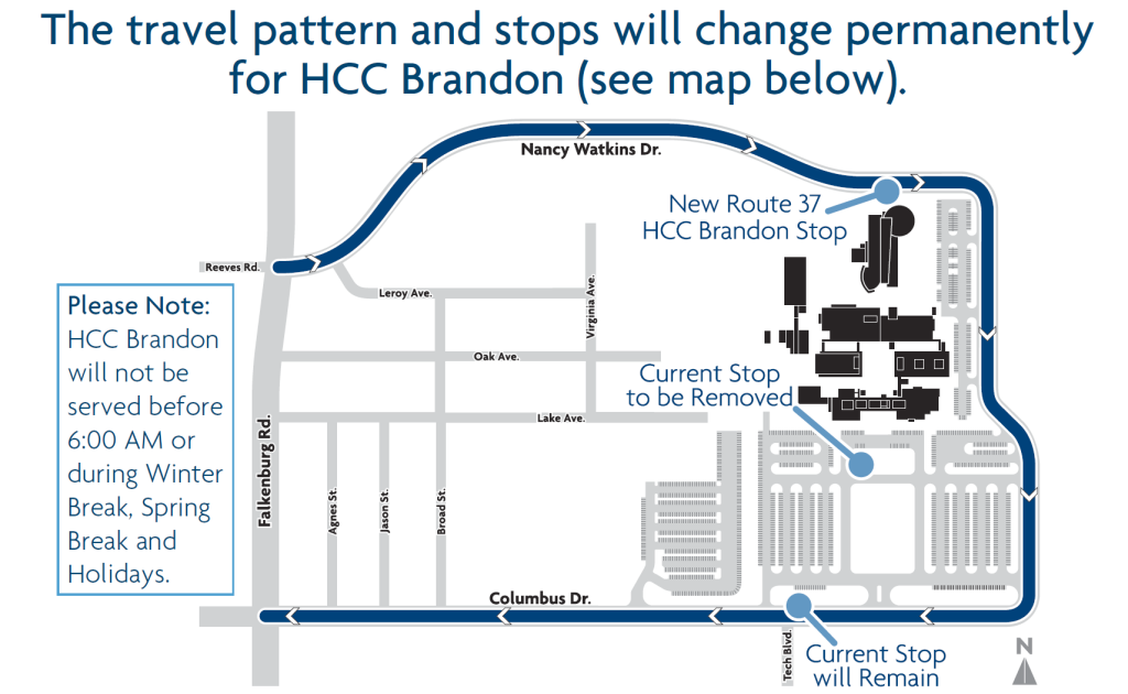 Changes to Route 37 at the Hillsborough Community College Brandon Campus. Credit: HART.