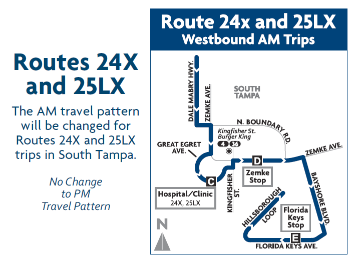A map depicting the new routing for Routes 24X and 25LX during the AM rush. Credit: HART.